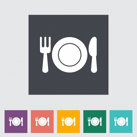 Restaurant. Single flat icon. Vector illustration.