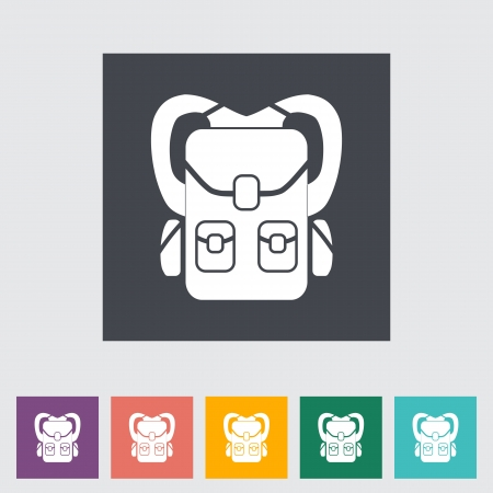 Rucksack. Single flat icon. Vector illustration. Vector