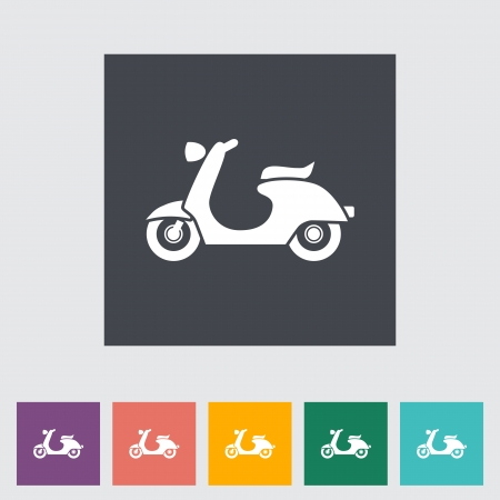 Scooter. Single flat icon. Vector illustration.