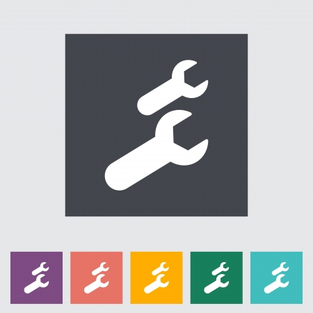 pictogramme: Wrench single flat icon. Vector illustration.