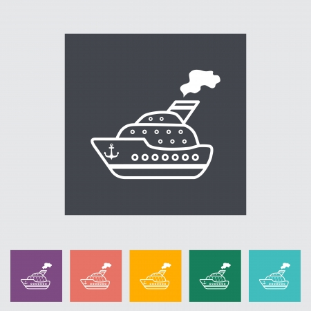 Ship. Single flat icon. Vector illustration. Vector