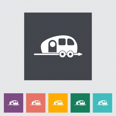 remolques: Remolque. �nico icono plana. Ilustraci�n del vector.
