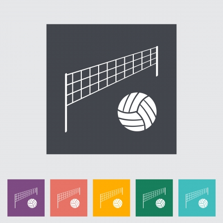 Volleyball. Single flat icon. Vector illustration. Vector