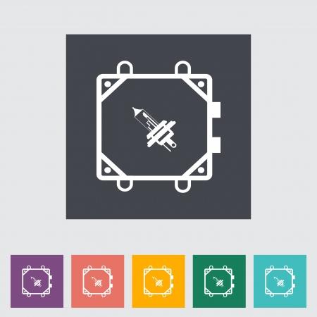 xenon: Xenon car lamp flat icon. Vector illustration Illustration