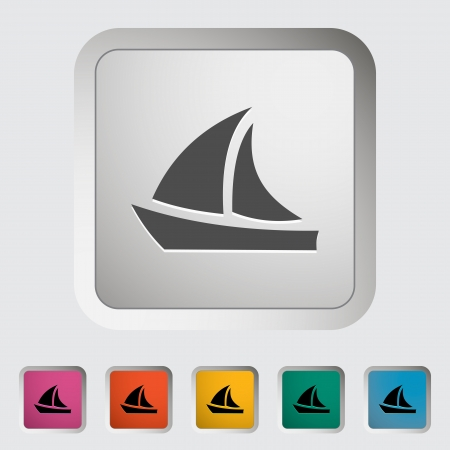 Yacht. Single icon. Vector illustration. Vector