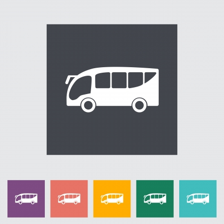 Bus. Single flat  icon. Vector illustration. Stock Vector - 21319430