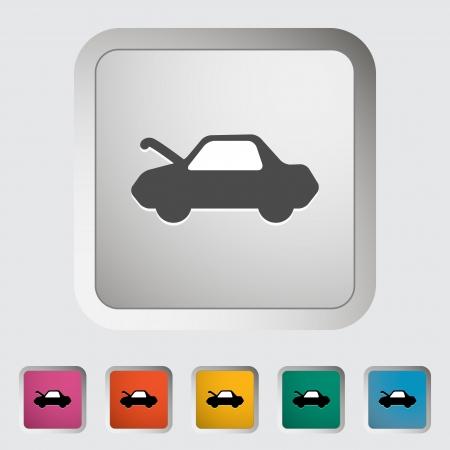 Bouton de déverrouillage du capot de la voiture. Seule icône. Vector illustration. Banque d'images - 21319431