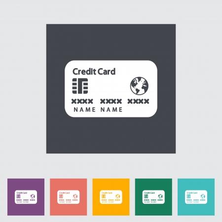 Credit card flat single icon. Vector illustration. Vector
