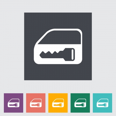 raiser: Window lock. Single flat icon. Vector illustration.