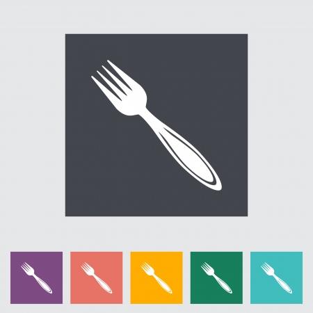 Fork. Single flat icon. Vector illustration.