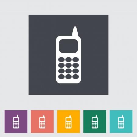 Phone single flat icon. Vector illustration. Stock Vector - 21319469