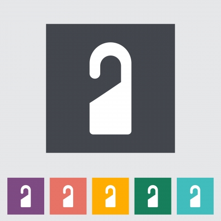 Door tag. Single flat icon. Vector illustration. Vector