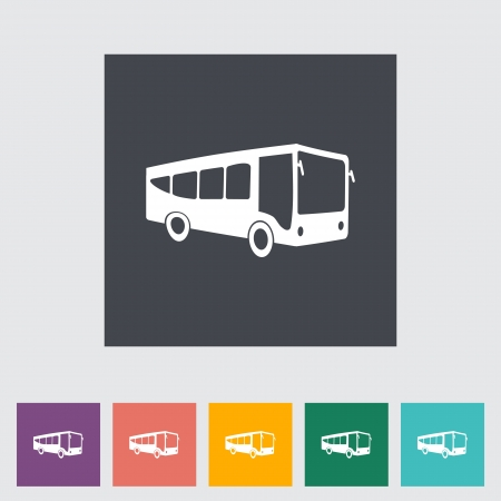 Bus  Single flat  icon  illustration  Vector