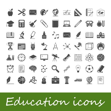 computer education: Education icons  illustration  Illustration