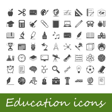 learning computer: Istruzione icone illustrazione Vettoriali