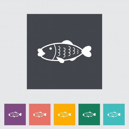 Fish  Single icon illustration   Vector