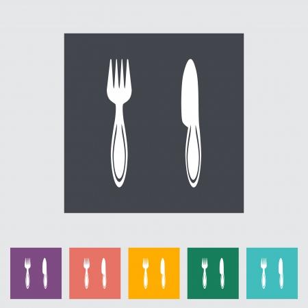 Cutlery single flat icon.  Vector