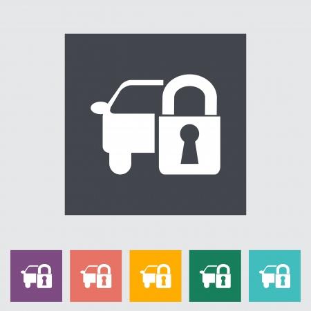 Locking car doors  Single flat icon illustration  Stock Vector - 21528506