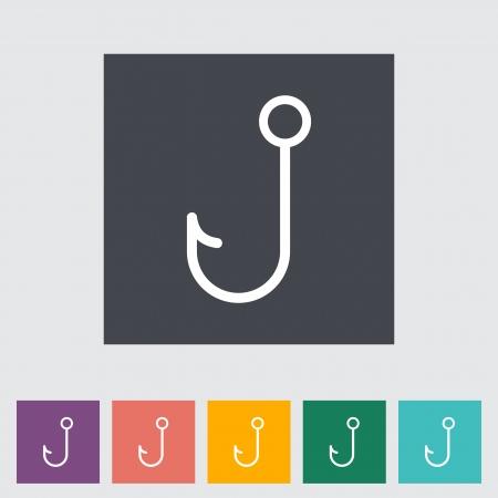 Fishhook  Single icon illustration Stock Vector - 21528499