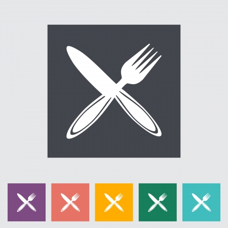 Cutlery single flat icon illustration  Vector