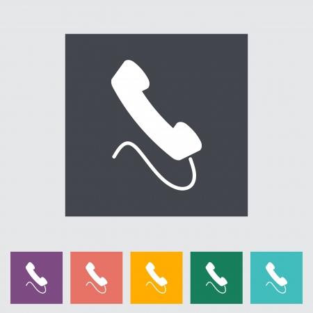 digitized: Icono de tel�fono plana sola ilustraci�n