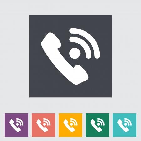 digitized: Icono de tel�fono plana �nica.