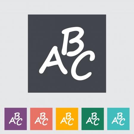 writing instruments: Alphabet. Single flat icon. Illustration