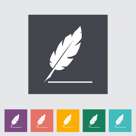 penman: Feather. Single flat icon. Illustration