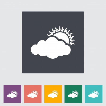 overcast: Overcast single flat icon.  Illustration