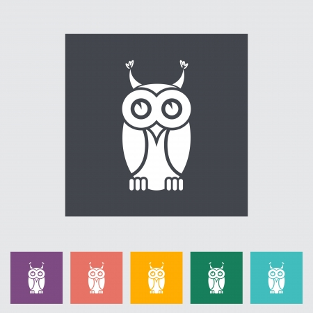 Owl icon. Single flat icon.  Vector