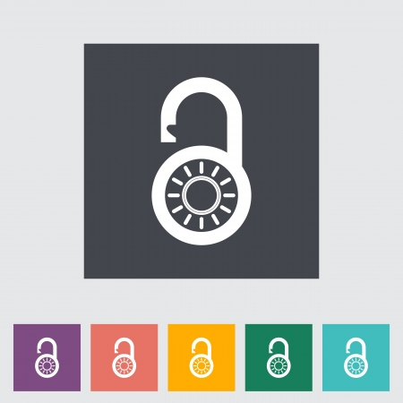 Padlock. Single flat icon. Vector