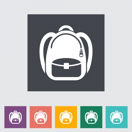 Schoolbag. Single flat icon.
