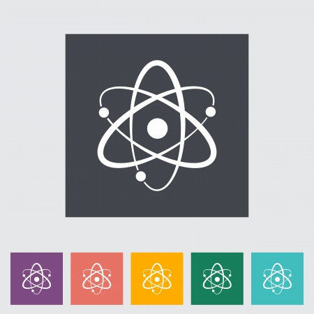 Atom. Single flat icon.  Stock Vector - 21686811