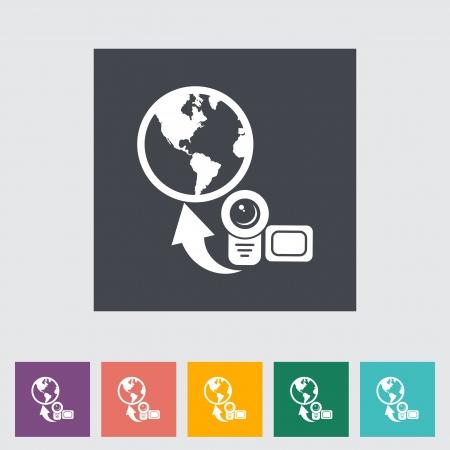 Upload video. Single flat icon. Stock Vector - 21686809