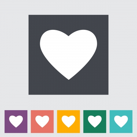Heart flat icon, white silhouette. Stock Vector - 22011462