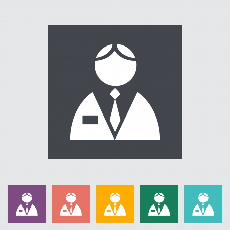 Person single flat icon.  Vector