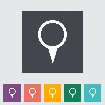 Map pointer single flat icon. Vector illustration. Vector