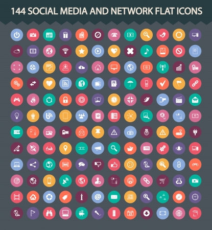 144 Social media and network flat icons. Vector illustration.