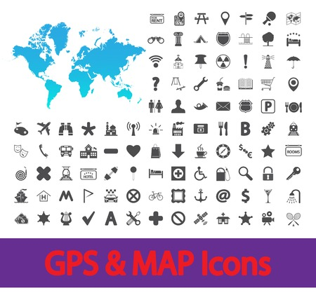 maps globes and flags: Navigation map icons set. Vector illustration.