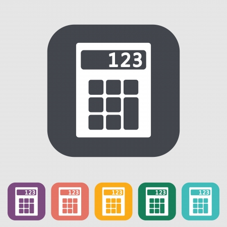 maths department: Calculator single flat icon. Vector illustration. Illustration