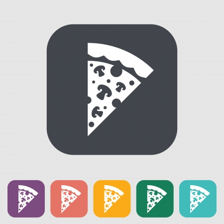 pizza dough: Pizza. Single flat icon. Vector illustration. Illustration