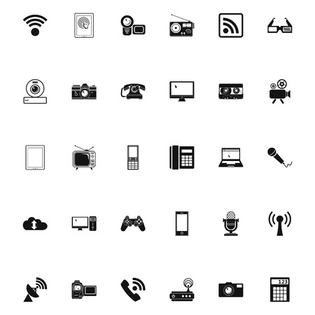 laptop silhouette: Devices icons. Vector illustration.