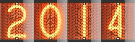 Nixie tube indicator of retro. Vector illustration. New year 2014. Vector