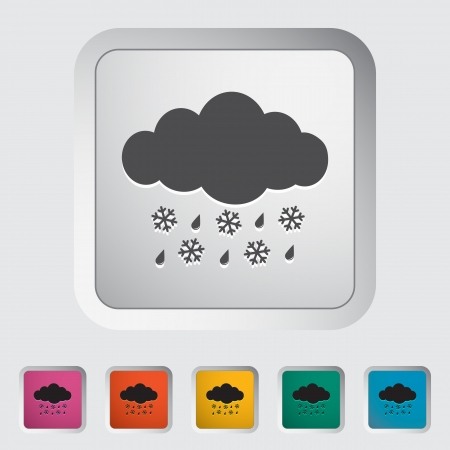 hailstorm: Sleet. Single icon on the button. Vector illustration.