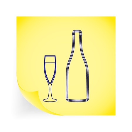 Wine glass and bottle. Single icon on the yellow note paper. Vector illustration. Vector