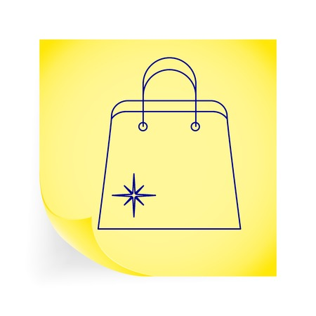paperbag: Holiday bag. Single icon on the yellow note paper. Vector illustration.
