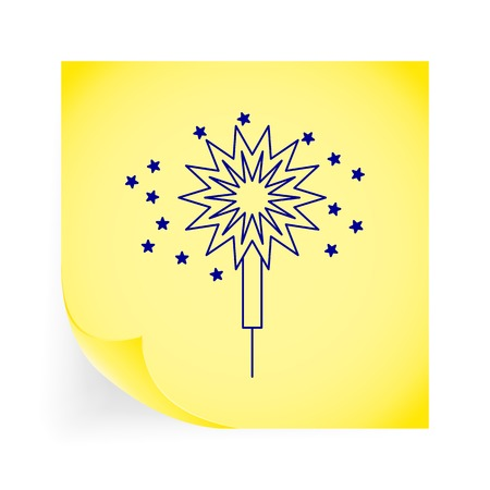 bengal light: Sparkler. Single icon on the yellow note paper. Vector illustration.