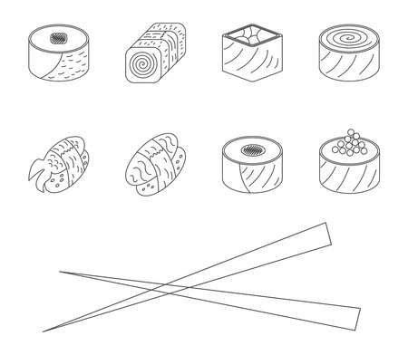 Sushi set. Vector illustration. Vector