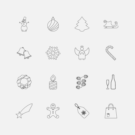 Christmas Outline Icons For Web. Vector illustration. Vector