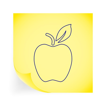 Apple. Single icon on the yellow note paper. Vector illustration. Vector